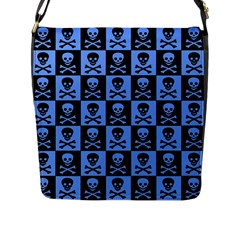 Blue Skull Checkerboard Flap Messenger Bag (l)