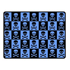 Blue Skull Checkerboard Double Sided Fleece Blanket (Small)