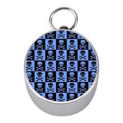 Blue Skull Checkerboard Mini Silver Compasses