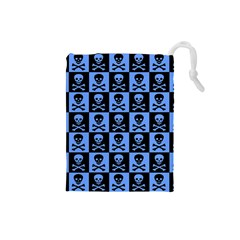 Blue Skull Checkerboard Drawstring Pouches (small)