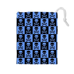 Blue Skull Checkerboard Drawstring Pouches (large)
