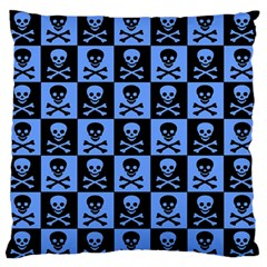 Blue Skull Checkerboard Standard Flano Cushion Cases (one Side)