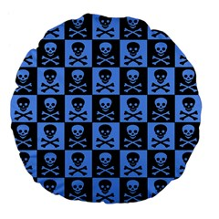 Blue Skull Checkerboard Large 18  Premium Flano Round Cushions