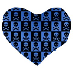 Blue Skull Checkerboard Large 19  Premium Flano Heart Shape Cushions