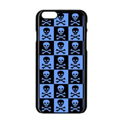 Blue Skull Checkerboard Apple iPhone 6 Black Enamel Case