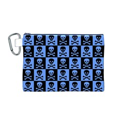 Blue Skull Checkerboard Canvas Cosmetic Bag (M)