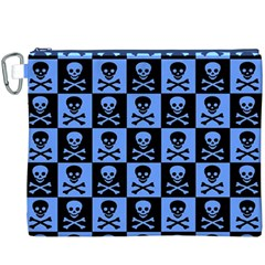 Blue Skull Checkerboard Canvas Cosmetic Bag (XXXL)