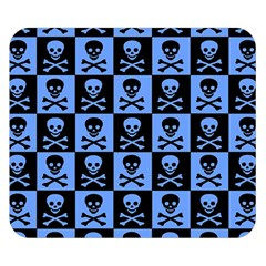 Blue Skull Checkerboard Double Sided Flano Blanket (small)