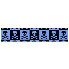Blue Skull Checkerboard Flano Scarf (small)