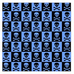 Blue Skull Checkerboard Large Satin Scarf (Square)