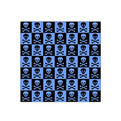 Blue Skull Checkerboard Satin Bandana Scarf