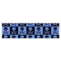 Blue Skull Checkerboard Satin Scarf (Oblong)