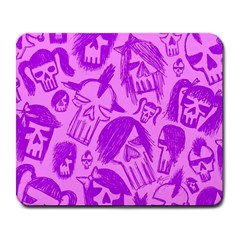Purple Skull Sketches Large Mousepads
