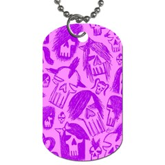 Purple Skull Sketches Dog Tag (one Side)