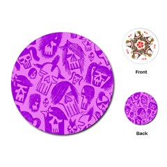 Purple Skull Sketches Playing Cards (Round)