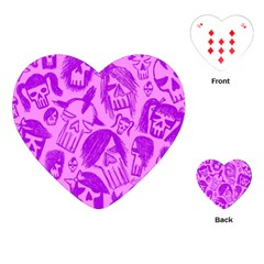 Purple Skull Sketches Playing Cards (Heart)