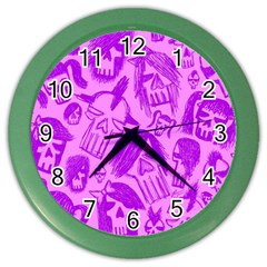 Purple Skull Sketches Color Wall Clocks