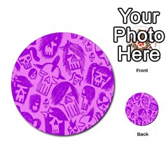 Purple Skull Sketches Multi-purpose Cards (Round)