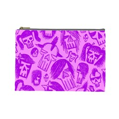 Purple Skull Sketches Cosmetic Bag (large)