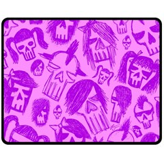 Purple Skull Sketches Fleece Blanket (Medium)