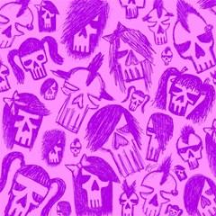 Purple Skull Sketches Magic Photo Cubes