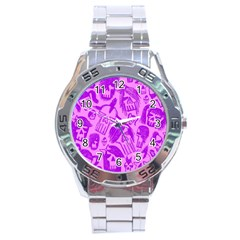 Purple Skull Sketches Stainless Steel Men s Watch