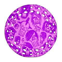 Purple Skull Sketches Ornament (Round Filigree)