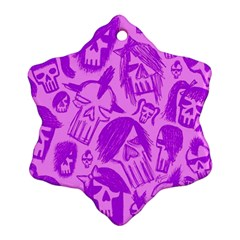 Purple Skull Sketches Snowflake Ornament (2 Side)