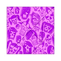 Purple Skull Sketches Acrylic Tangram Puzzle (6  x 6 )