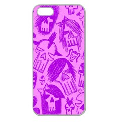 Purple Skull Sketches Apple Seamless Iphone 5 Case (clear)