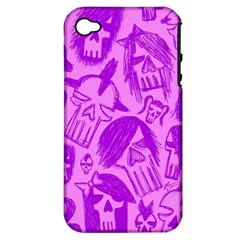 Purple Skull Sketches Apple Iphone 4/4s Hardshell Case (pc+silicone)