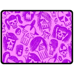 Purple Skull Sketches Double Sided Fleece Blanket (large)