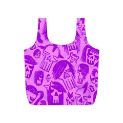 Purple Skull Sketches Full Print Recycle Bags (s)