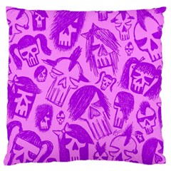 Purple Skull Sketches Large Flano Cushion Cases (Two Sides)