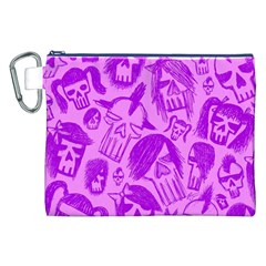 Purple Skull Sketches Canvas Cosmetic Bag (xxl)