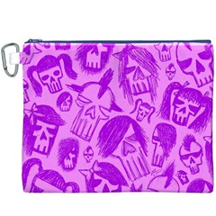 Purple Skull Sketches Canvas Cosmetic Bag (XXXL)