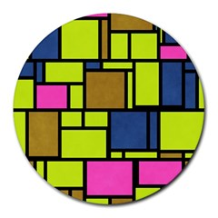 Squares And Rectangles Round Mousepad
