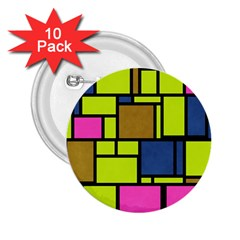 Squares And Rectangles 2 25  Button (10 Pack)