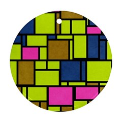Squares And Rectangles Round Ornament (two Sides)