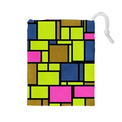 Squares and rectangles Drawstring Pouch