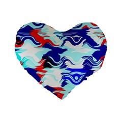 Wavy Chaos Standard 16  Premium Heart Shape Cushion