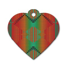 Striped Tribal Pattern Dog Tag Heart (one Side)