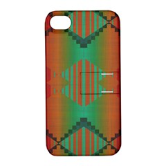Striped Tribal Pattern Apple Iphone 4/4s Hardshell Case With Stand