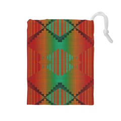 Striped Tribal Pattern Drawstring Pouch