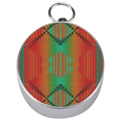 Striped Tribal Pattern Silver Compass