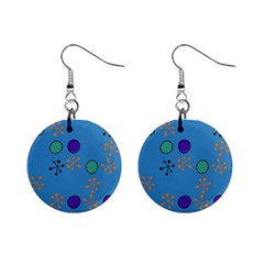 Circles And Snowflakes 1  Button Earrings