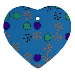 Circles And Snowflakes Heart Ornament (two Sides)