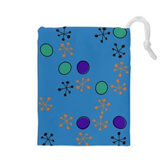 Circles and snowflakes Drawstring Pouch