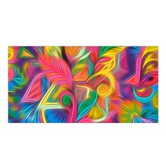 Colorful Floral Abstract Painting Satin Shawl