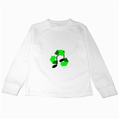 Rhythm (Green Recycle encompassing a Music Note) Kids Long Sleeve T-Shirts
